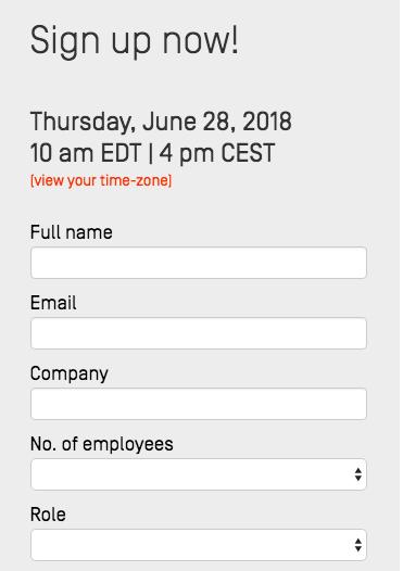email registration form