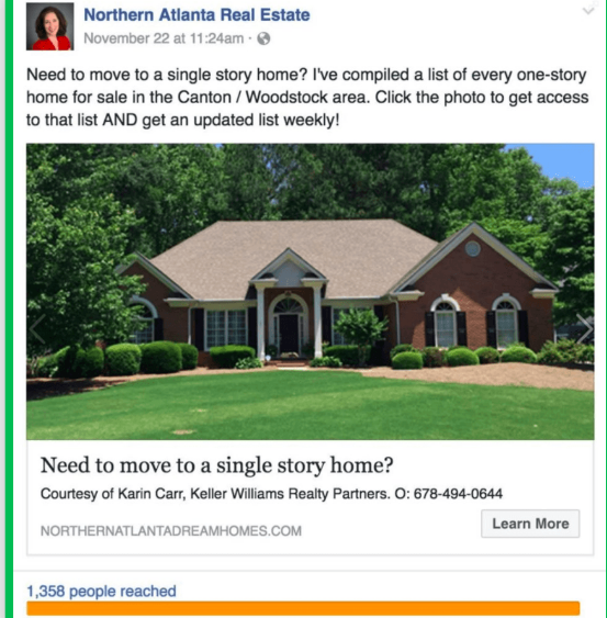 Facebook ad for real estate