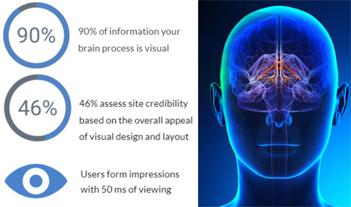 90% of info your brain process if visual