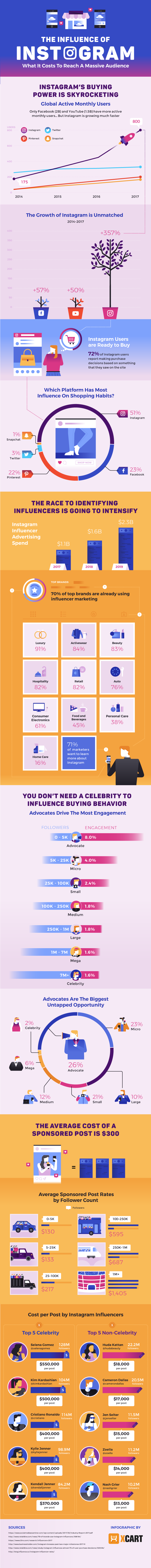 infographic from X-Cart on the influence of Instagram for business